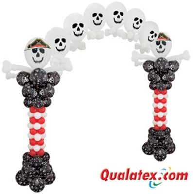 Pirate Skull Balloon Columns and Pearl Balloon Arch