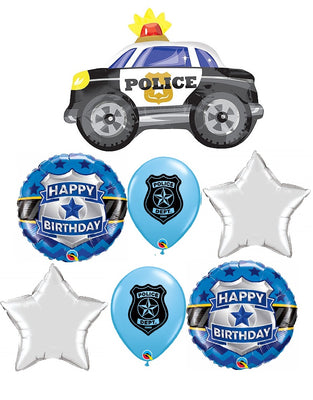 Police Car Happy Birthday Balloon Bouquet