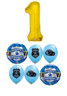 Police Pick An Age Gold Number Birthday Balloon Bouquet