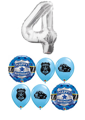 Police Pick An Age Silver Number Birthday Balloon Bouquet