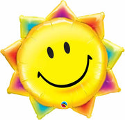Rainbow Smiley Sun 35 inch Foil Balloons