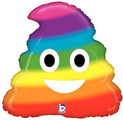Emoticon Emoji Rainbow Poop Foil Balloon