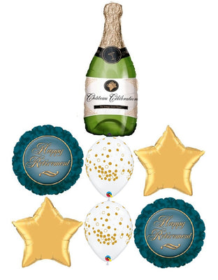 Retirement Champagne Stars Balloon Bouquet