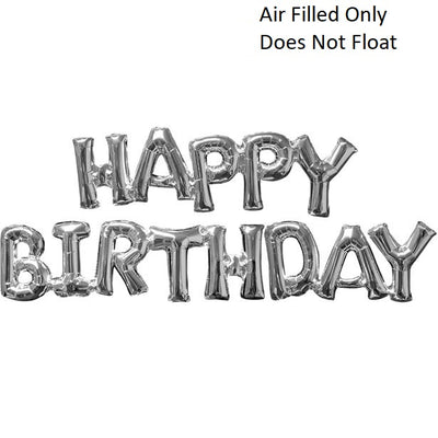 Script Silver Happy Birthday (Air Filled Only)