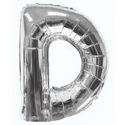 Silver Jumbo Balloon Letter D (Includes Helium and Weight)