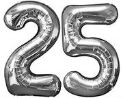 25th Anniversary Jumbo Balloon Numbers (Includes Helium and Weights)