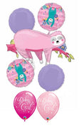 Sloth Pink Baby Girl Balloon Bouquet