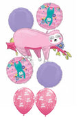 Sloth Pink Birthday Balloon Bouquet