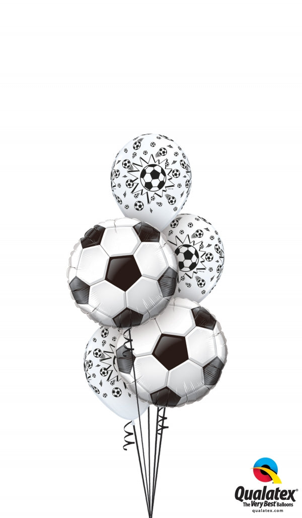 Soccer Balls Around Latex Foil Balloon Bouquet