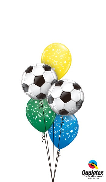 Soccer Balls Stars and Confetti Balloon Bouquet