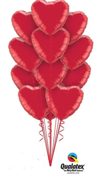 Solid Colour Foil Hearts Balloon Bouquet of 12