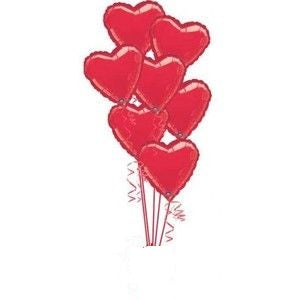 Solid Colour Foil Hearts Balloon Bouquet of 7
