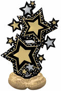 59 inch Star Black and Gold Stars Cluster AirLoonz AIR FILLED ONLY