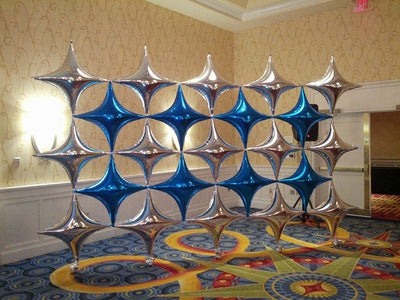 Star Points Silver and Blue Balloon Decorations