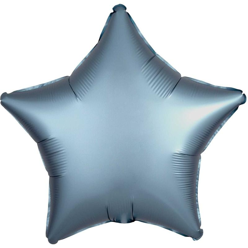 18 inch Satin Steel Blue Star Foil Helium Balloon
