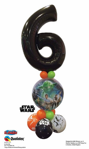 Star Wars Black Number Pick An Age Bubbles Balloon Stand Up