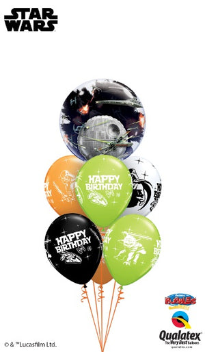 Star Wars Death Star Double Bubbles Birthday Balloon Bouquet