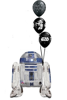 Star Wars R2D2 Helium Filled 30 inch  Airwalker Birthday Balloon Bouquet