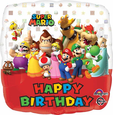 Super Mario Brothers Happy Birthday 18 inch Mylar Foil Balloons