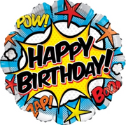 Super Hero Happy Birthday 18 inch Foil Balloon