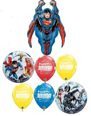 Superman Birthday Justice League Bubbles Balloon Bouquet