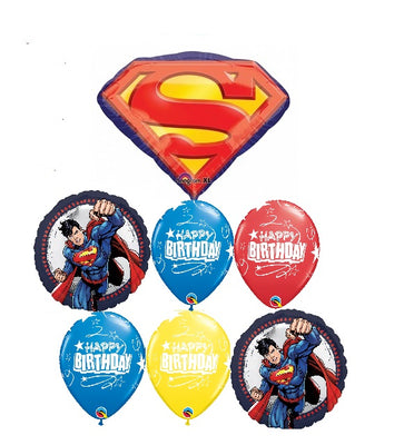 Superman Emblem Birthday Bouquet Balloon