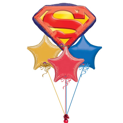 Superman Emblem Stars Balloon Bouquet