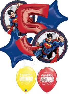 Superman Pick An Age Red Number Birthday Balloon Bouquet