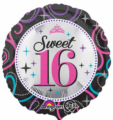 Sweet 16 Birthday Pink Black Turquoise 18 inch Foil Balloon
