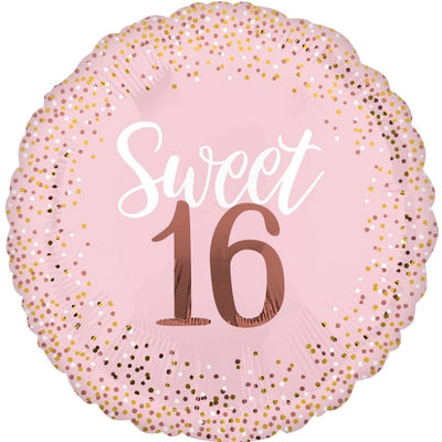 Sweet 16 Birthday Blush Pink and Rose Gold Polka Dots 18 inch Foil Balloon