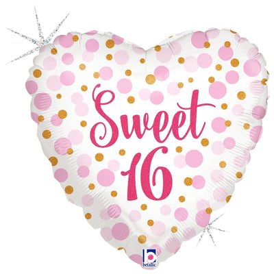 Sweet 16 Birthday Heart Holographic Polka Dots 18 inch Foil Balloon