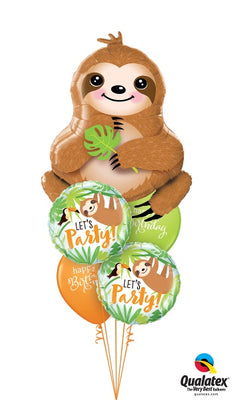 Sweet Sloth Birthday Balloon Bouquet