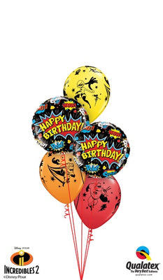 The Incredibles 2 Round Happy Birthday Balloon Bouquet