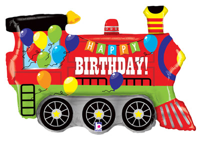 Train Birthday 37 inch Foil Balloons