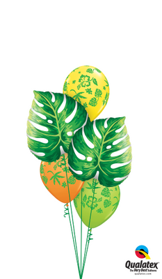 Luau Philodendron Tropical Flowers Balloon Bouquet