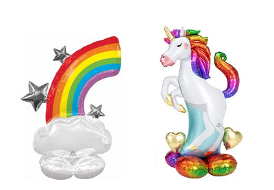 Unicorn 52 inch and  Rainbow 52 inch Airloonz Balloons