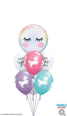 Unicorn Eyelashes Bubble Birthday Balloon Bouquet