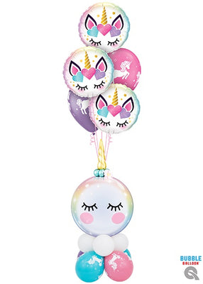 Unicorn Eyelashes Bubbles Balloon Bouquet Stand Up