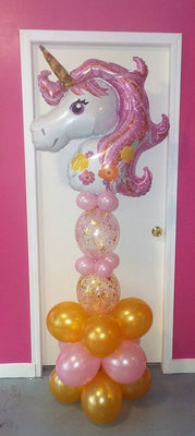 Unicorn Pink Confetti Balloon Stand Up