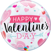 Valentines Day Pink Hearts Arrow Bubbles Balloon