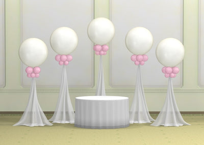 Wedding 36 inch Round Balloon with Tulle Column