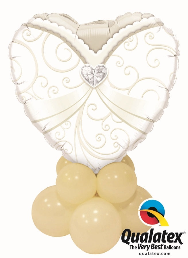 Wedding Dress Heart Balloon Table Centerpiece 1