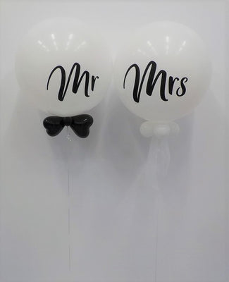 Wedding 36 inch Mr and Mrs Bow Tie Tulle Balloon Bouquet