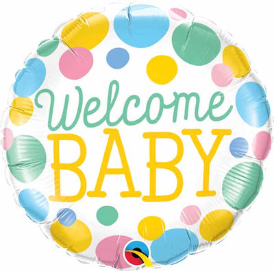Welcome Baby Big Dots 18 inch Foil Balloons