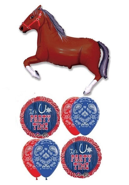 Western Horse Party Time Balloon Bouquet