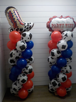 Western Boot and Party Time Balloon Columns