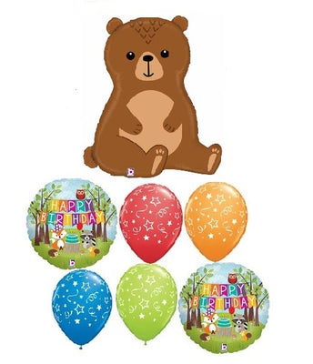 Woodland Critters  Bear Birthday Balloon Bouquet