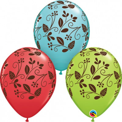 Woodland Foliage Leaves 11 inch Latex Helium Balloons