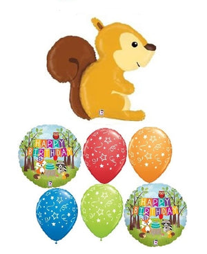 Woodland Critters Squirrel Birthday Balloon Bouquet