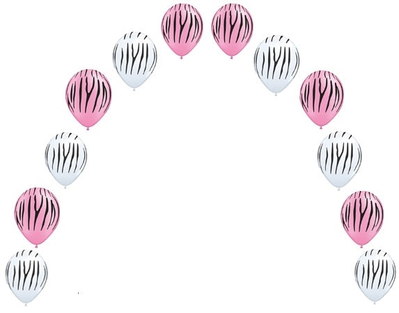 Jungle Zebra Print Pink and White Pearl Balloon Arch